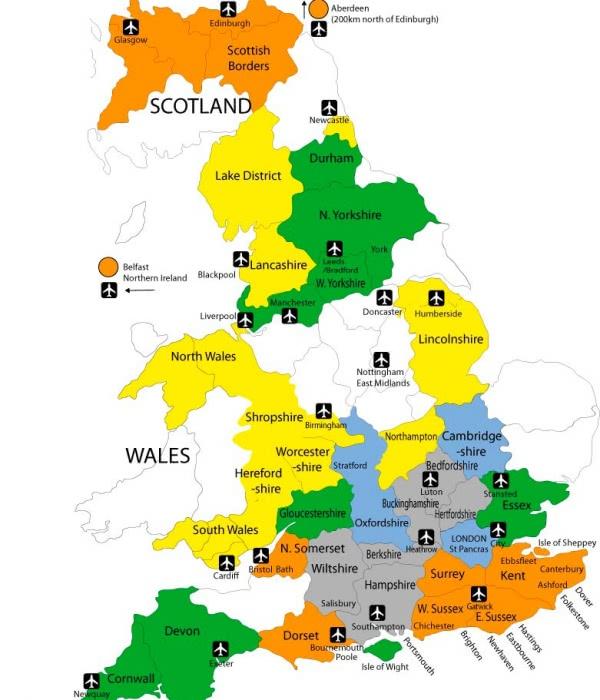 mapa destinos Inglaterra